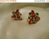 50% Off Sale Star Art 120-12K Gold Filled Setting Pink and Clear Stone Screw Back Earrings