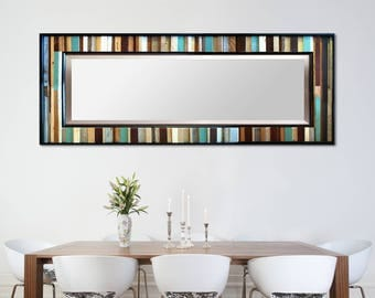 "Reclaimed Wood Leaner Mirror - Floor Mirror - Modern Wood Wall Art ""Reclaimed Reflection""- 32x78"" - Abstract Wood Art - Reclaimed Mirror"
