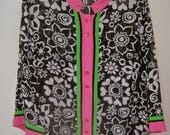 BOB MACKIE Silk Blouse Wearable Art Line Vintage 80s SIZE L 60s Style Sheer Loose Cover Up Wide Long Sleeve Black White Hot Pink Lime Green
