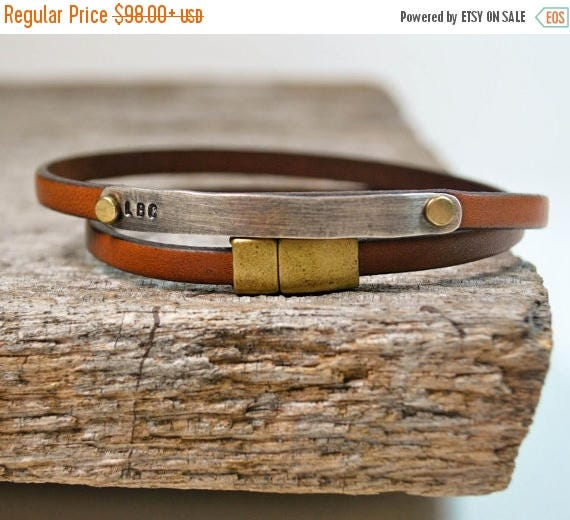 ON SALE Leather Wrap Bracelet Personalized in Sterling Silver - Brown Leather Wrap Bracelet - Brown Leather ID Bracelet
