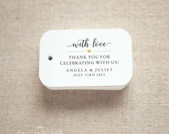 Thank you for celebrating with us Wedding Personalized Gift Tags Wedding Favor Tags Thank you tags - Set of 24 (Item code: J719)