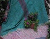 Soft pastels vintage kantha, Kantha throw, Sari blanket, Indian throw, Vintage kantha quilt, Yellow Sari throw, Kantha blanket,Boho throw