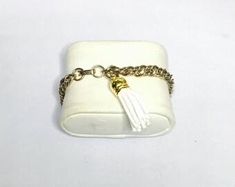 Snow White  tassel Bracelet, vintage chunky gold tone, Clearance Sale, Item No. B908