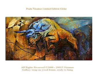 Art on canvas Giclee PRINT Blue Horn Bull picture Home Decor ready to hang