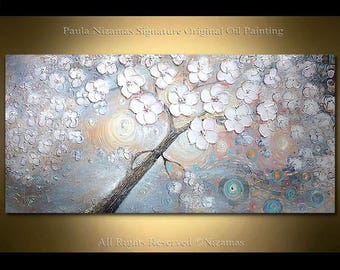 Original Oil Painting on canvas Dancing in Sun Rays original palette knife by Paula Nizamas ready to hang