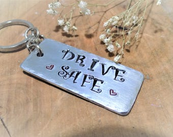 Drive safe keychain , drivers gift , new driver keyring , new car gift