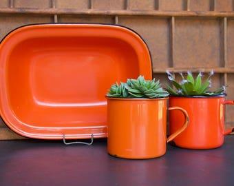 Vintage Decorative Orange Enamelware Dish/Bowl & Cup Set