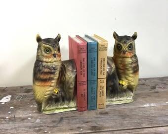 Owl Bookends, matte finish porcelain vintage shelf decor, 1950's made in Japan