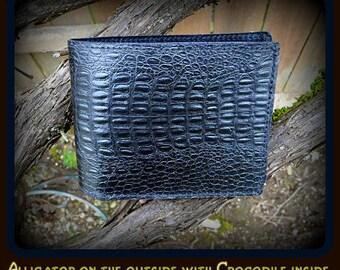Men's, Slim, Black, Leather, Alligator & Crocodile Billfold, For a distinctive wallet look no further! Embossed cowhide in black.