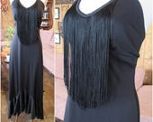 Vintage Dress with Fringe // Young Edwardian by Arpeja // Black Disco Dress // Salsa Dress // 1970's Cher //Halter Dress
