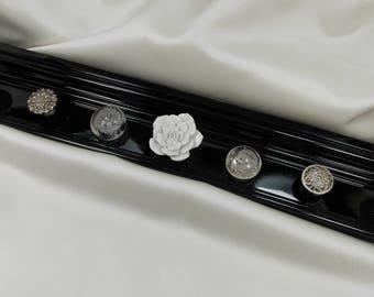 "BLACK Jewelry Organizer, Wall Jewelry Organizer, Jewellry Organizer with 7 White Clear Silver Knobs 20"" Length, READY To SHIP Gift Under 45"