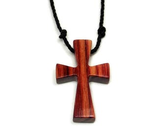 Men's Cross Necklace, Mens Jewelry Cross, Minimalist Cross Necklace, Recycled Reclaimed Brazilian Tulipwood Wooden Religious Pendant