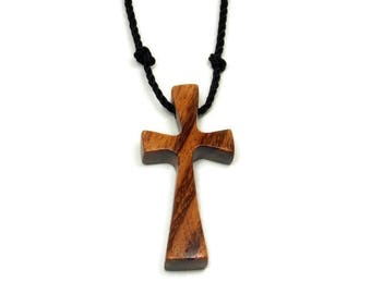 Tigerwood Cross Necklace, Cross Pendant, Mens Cross Necklaces, Wooden Cross Pendant, Brazilian Tigerwood, Reclaimed Wood, Mens Jewelry Cross