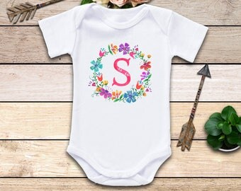 Initial Baby Onesie®, Baby Clothes, Wreath Onesie, Initial Bodysuit, Girl Baby Clothes, Boho Baby, Baby Shower Gift, Cute Baby Clothes