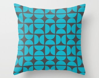 8 colours, Scuba Blue Circles Pattern Pillow and Insert, Charcoal black, Scandinavian style, Geometric pillow, Nordic, Indoor or Outdoor