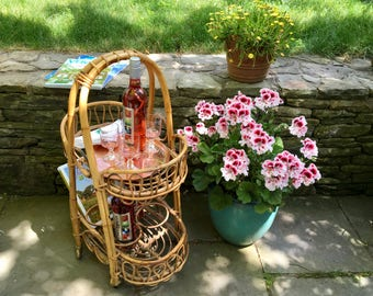 Vintage Rattan Beverage Caddy with Casters and Handle/Bar Cart,Rosenthal Netter, Made In Italy, 1960s