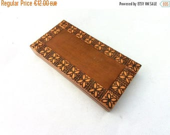 SALE 20% off Vintage Jewelry Box, Wooden box, Trinket box, Treasury box, Storage box, Art case, 70s wood box