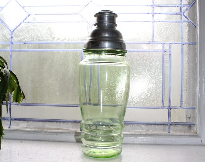 Vintage Cocktail Shaker Green Depression Glass 1930s