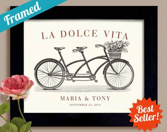 Italian Wedding Unique Engagement Wedding Gift the Good Life La Dolce Vita Framed Gift for Couples Bicycle for Two Destination Wedding