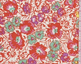 Ivory/Orange Floral Rayon Challis, Fabric By The Yard