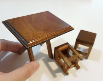 Miniature Simple Rectangular Table & Chairs (Foldable table)