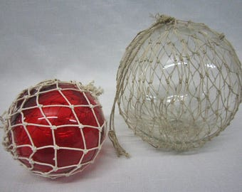 Vintage Glass Fishing Floats, Pair