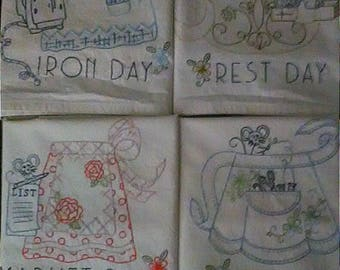 Hand Embroidered Muslin Tea Towels Aprons Retro Daily Chores