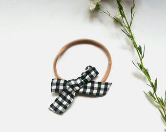 Girl's black white gingham plaid buffalo hair bow clip girls modern headband