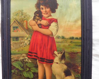 Darling Print, Picture of Little Girl With Dog and Puppy.