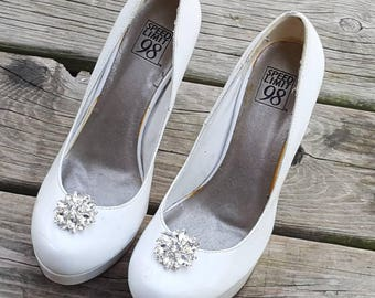 Wedding Bridal Shoe Clips large Clear Rhinestone Shoe Clips Bridal Wedding  Silver Shoe Clips - set of 2 -