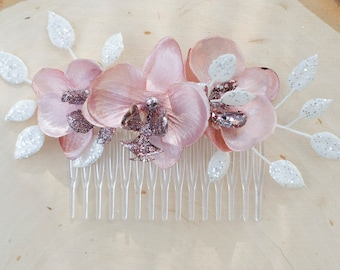 Pink and white flower hair comb - bridal accessory