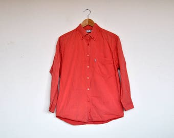 Vintage Peach Cotton Long Sleeve Button Up Shirt Top