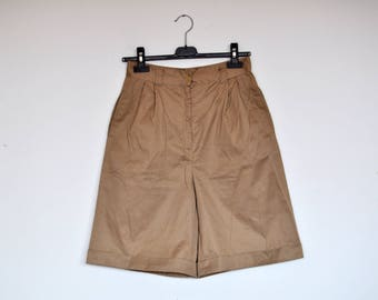 Vintage High Waist Beige Tan Wide Leg Safari Shorts