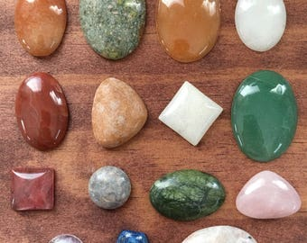 Mixed gemstone and glass cabochon lot, crystals, beading supply, wire wrap, wrapping gems SET ONE