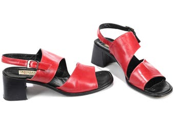 Red Retro Sandals Block Heel 80s Red Leather Slingback Shoes Slip On Leather Summer Open Toe Two Strap Shoes Heels Us 9.5, Uk 7, Eur 40