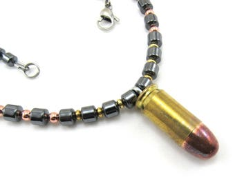 Men's Jewelry, Hematite Beaded Necklace, 45 Bullet, Shell, Ammo Jewelry, Brass Copper, 45 Auto Shell