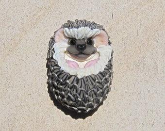LG. Happy Hedgie Hedgehog - Handmade Flameworked Glass Sculpture Bead - SRA