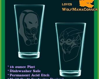 PICK 2(two) Mass Effect faces - fan art, etched drinking glasses, FemmeShep, Garrus, Wrex, Tali