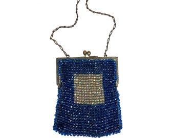 Art Deco Blue Glass Beaded Purse // Antique 1920s Flapper Bag with Blue & White Aurora Borealis Glass Beads // Silver KissLock, Chain Handle