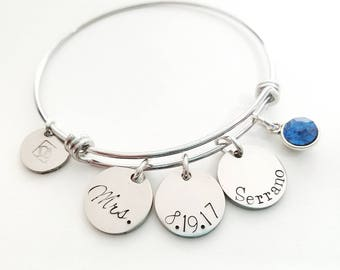 Bride Bracelet - Wedding Bracelet - Mrs Bracelet - Wedding Bangle - Wedding Charm Bracelet - Bride Charm Bracelet - Mrs Charm Bracelet
