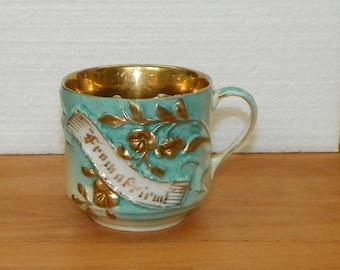 Antique Copper Lustre MUSTACHE MUG Ironstone Luster gold gilt from a friend austria