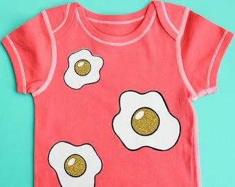 Coral Glitter Fried Egg Baby Bodysuit - Range of Sizes