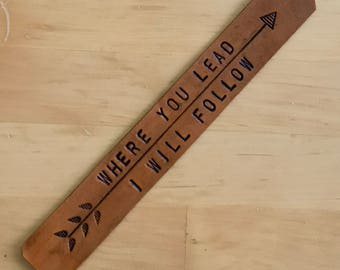 Leather Gilmore Girls Bookmark Where You Lead I Will Follow 3rd Anniversary Gift  - Love That Leather
