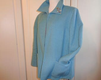 Vintage Baby Blue Wool Blend Swing Style Coat, Size 16 Female USA,  Made in The United Arab Emirates in Good Vintage Condition