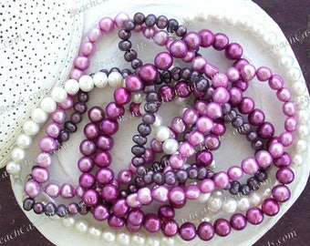 4 Strands ~ Sale Beads, Destash Beads, White Fuchsia Light Purple Dark Purple Berry Fresh Water Potato Pearls, Destash Supplies DS-903