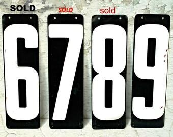 vintage metal scoreboard numbers 6, 8, 9, metal numbers, industrial decor, man cave decor, black white metal number signs