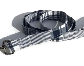 Dog Leash in Navy Madras Patchwork  for Small to Large Dogs