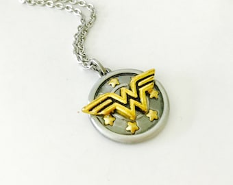 Wonder Woman necklace, stainless steel