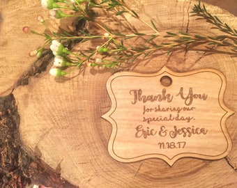 Thank you wedding tags, wooden wedding favor tags, mason jar tags,