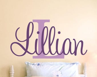 Girls Name Decal Girls Bedroom Baby Girl Nursery Wall Decal Name Decal Wall Decor Personalized Monogram Initial Wall Vinyl Lettering